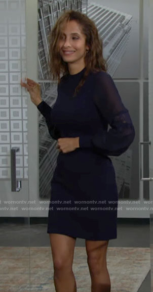 Lily's navy blue long sleeved lace detail dress on The Young and the Restless