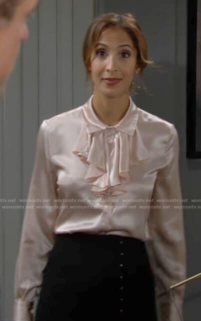 Lily's light pink ruffled silk blouse on The Young and the Restless