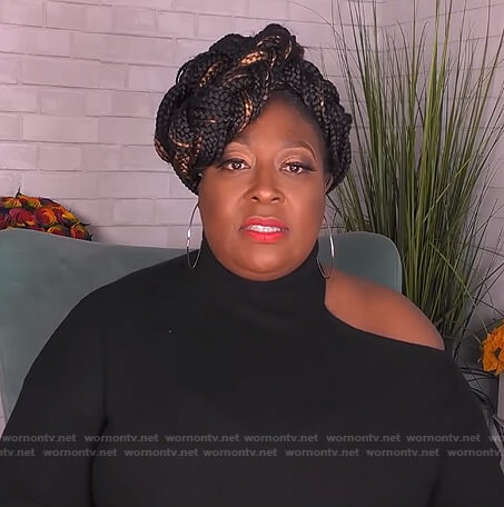 Loni's black cutout turtleneck sweater on The Real