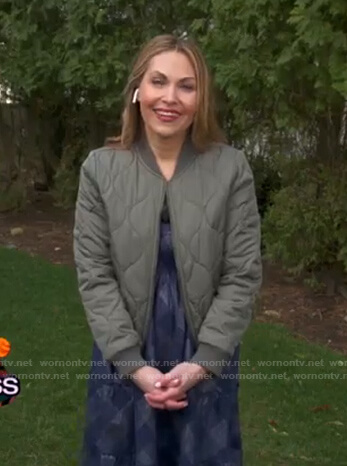 Lori Bergamotto's bomber jacket and blue checked dress on Good Morning America