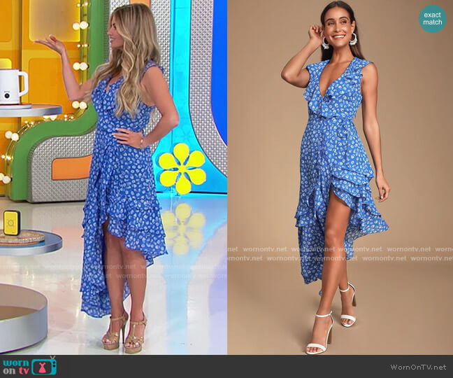 Lulus Cornelia Royal Blue Floral Print Ruffled Wrap Midi Dress worn by Amber Lancaster  on The Price is Right