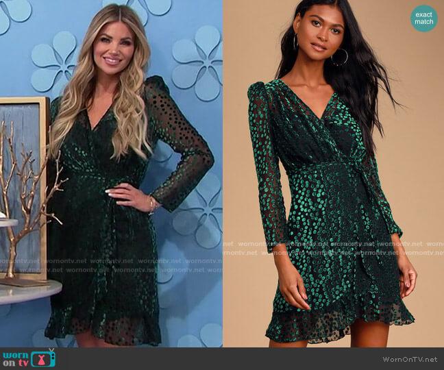 Lulus OPT Ekhi Black and Green Velvet Polka Dot Wrap Dress worn by Amber Lancaster  on The Price is Right
