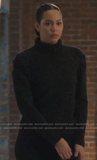 Macy's black speckled turtleneck sweater on Charmed