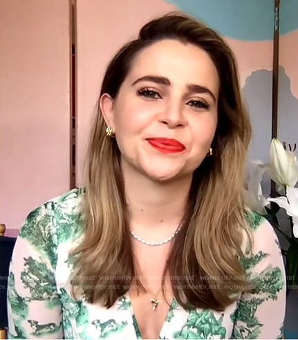 Mae Whitman's white and green printed dress on The Drew Barrymore Show