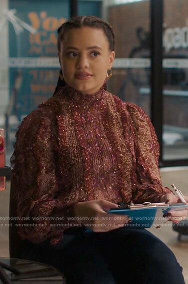 Maggie's red metallic ruffled blouse on Charmed
