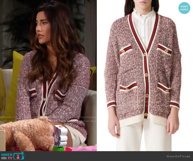 Maje Mapada Cardigan worn by Steffy Forrester (Jacqueline MacInnes Wood) on The Bold & the Beautiful
