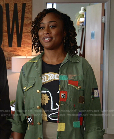 Malika's army green patchworck jacket on Good Trouble