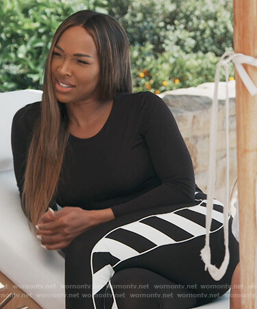 Malika's black side stripe leggings on Keeping Up with the Kardashians
