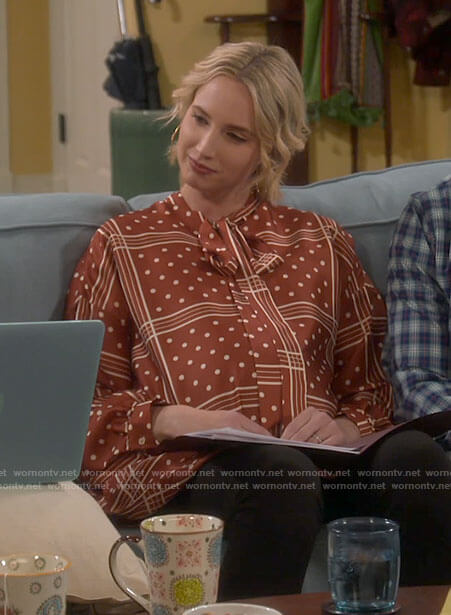 Mandy's brown polka dot and check tunic top on Last Man Standing
