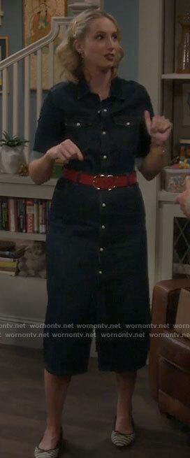 Mandy's midi denim shirtdress on Last Man Standing
