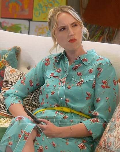 Mandy's turquoise floral shirtdress on Last Man Standing