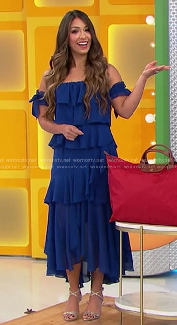 Manuela's blue ruffled off-shoulder dress on The Price is Right