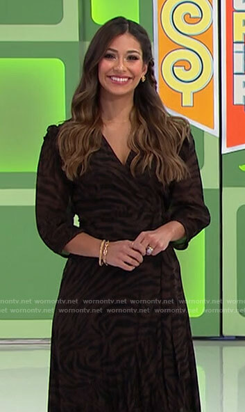Manuela's brown zebra print wrap dress on The Price is Right