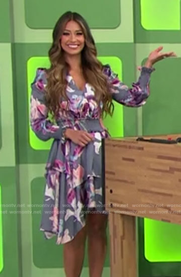 Manuela's grey floral long sleeved dress on The Price is Right