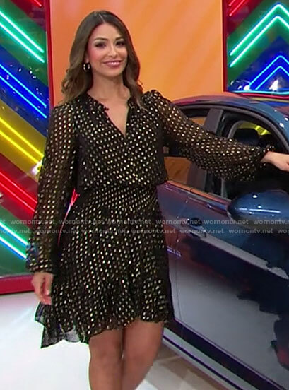 Manuela's metallic polka dot dress on The Price is Right