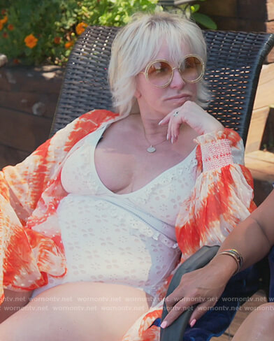 Margaret's white eyelet swimsuit on The Real Housewives of New Jersey