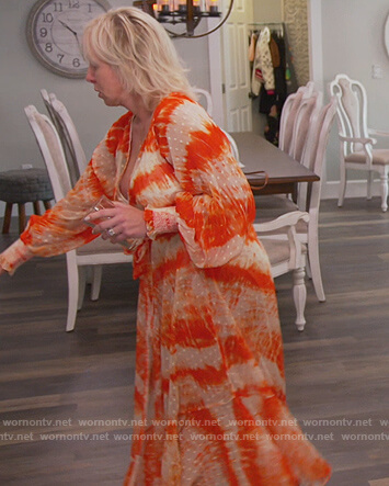 Margarette's orange tie dye maxi dress on The Real Housewives of New Jersey