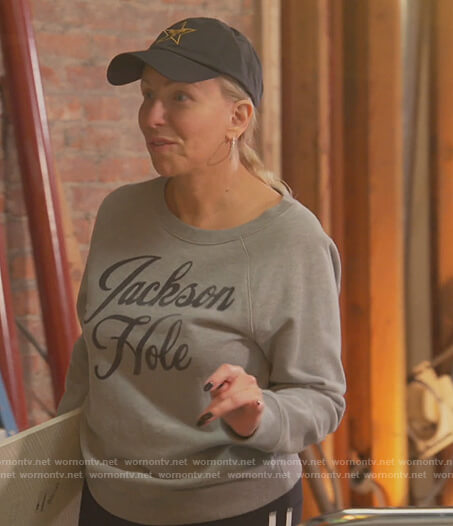 Margaret's gray Jackson Hole sweatshirt on The Real Housewives of New Jersey