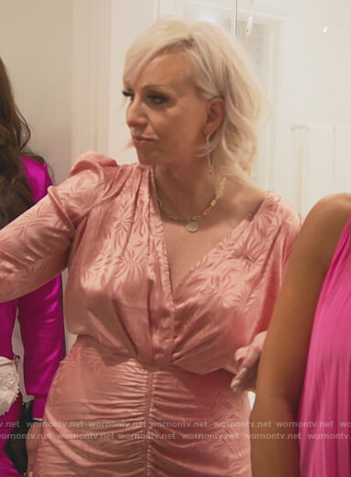 Margaret's pink floral satin dress on The Real Housewives of New Jersey