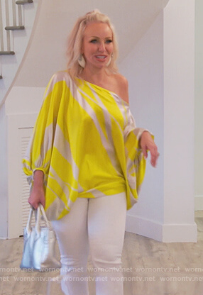 Margaret's yellow drape blouse on The Real Housewives of New Jersey