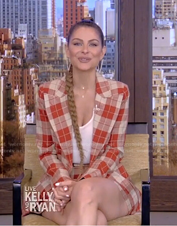 Maria Menounos's orange plaid blazer and shorts on Live with Kelly and Ryan