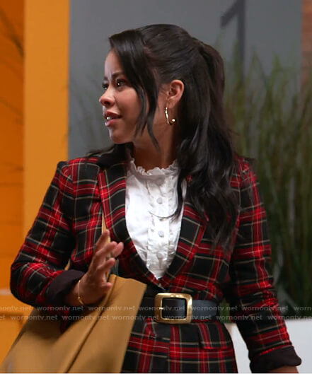 Mariana's black and red tartan check blazer on Good Trouble