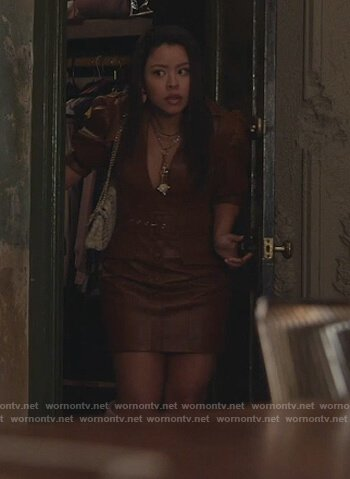 Mariana's brown leather puff sleeve dress  on Good Trouble
