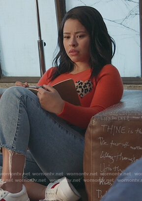 Mariana red sweater with leopard heart on Good Trouble