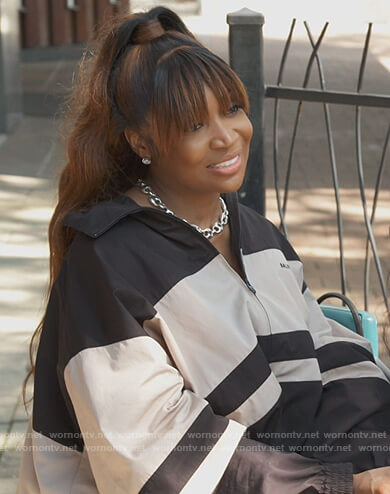 Marlo Hampton's colorblock windbreaker jacket on The Real Housewives of Atlanta