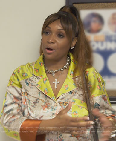Marlo Hampton's floral print pajamas on The Real Housewives of Atlanta