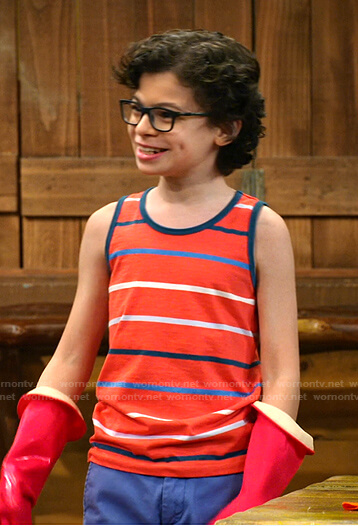 Matteo's red striped tank top on Bunkd
