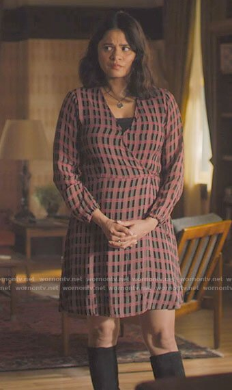 Mel's pink plaid wrap dress on Charmed