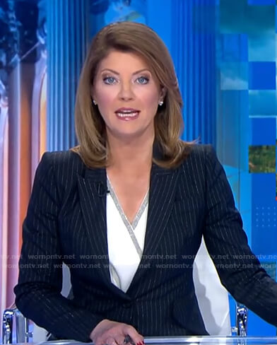Nora's metallic pinstripe blazer on CBS Evening News