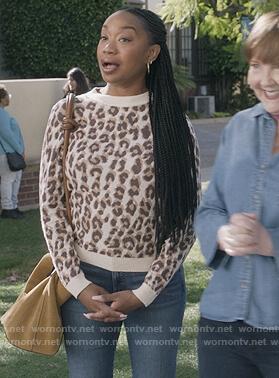 Michelle's leopard print sweater on The Unicorn