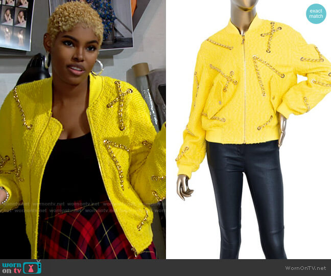 Moschino Bomber Jacket with Chain worn by Paris Buckingham (Diamond White) on The Bold & the Beautiful