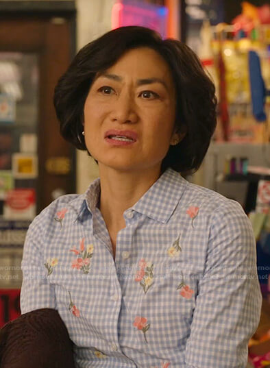 Mrs. Kim's blue gingham floral embroidered blouse on Kims Convenience