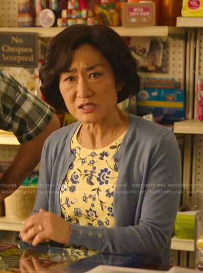 Mrs. Kim's yellow floral tee on Kims Convenience