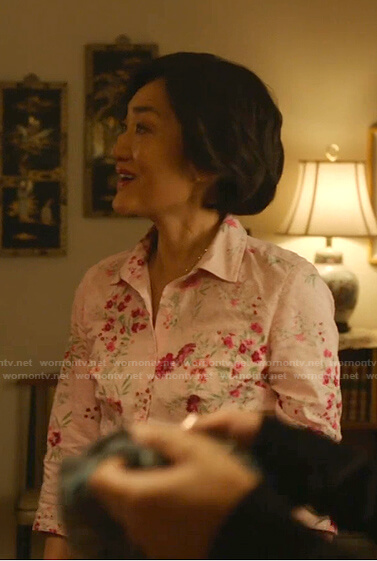 Mrs. Kim's pink floral button down blouse on Kims Convenience