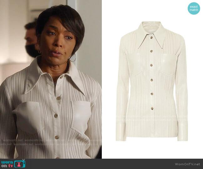 Blaine Pleated Faux Leather Shirt by Nanushka worn by Athena Grant (Angela Bassett) on 9-1-1