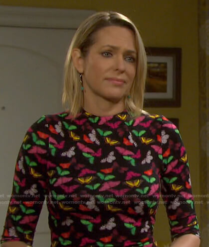 Nicole's black butterfly print dress on Days of our Lives