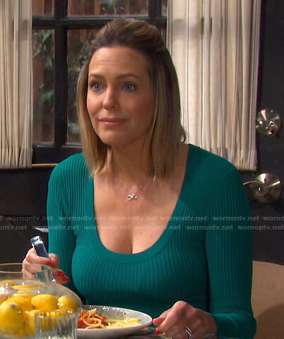 Nicole's green ribbed scoop neck dress on Days of our Lives