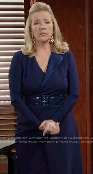 Nikki's blue wrap dress on The Young and the Restless