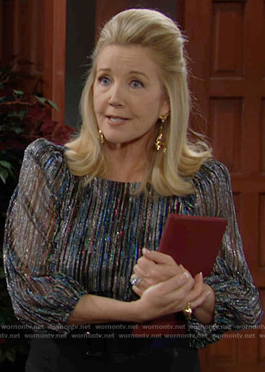 Nikki's metallic blouse on The Young and the Restless