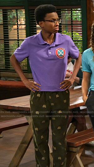 Noah's green embroidered corduroy pants on Bunkd