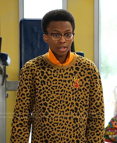 Noah's yellow leopard print sweatshirt on Bunkd