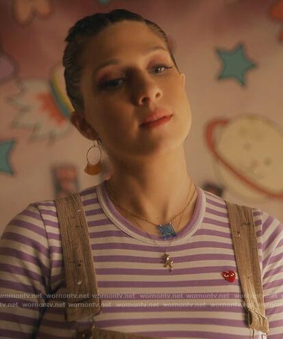 Nomi's purple stripe long sleeve tee on Grown-ish