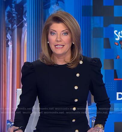 Norah's black button embellished dress on CBS Evening News