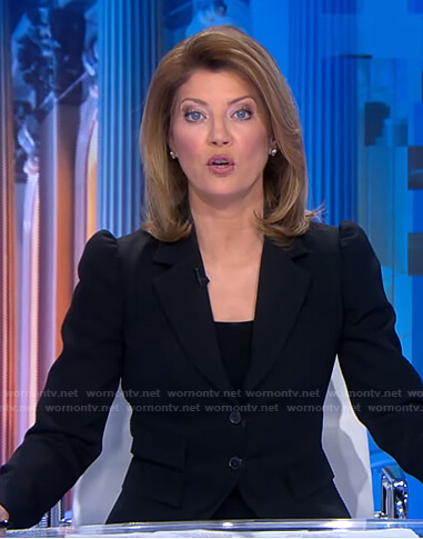Norah's black puff sleeve blazer on CBS Evening News