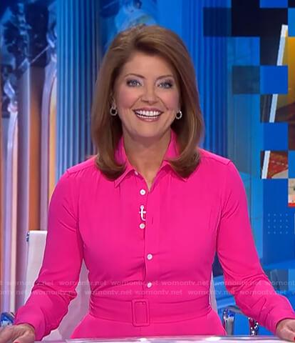 Norah's pink belted shirtdress on CBS Evening News
