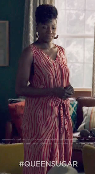 Nova's red zebra print jumpsuit on Queen Sugar